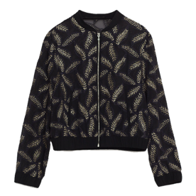 <p>Bomber with Sheer Leaf Embroidery</p>