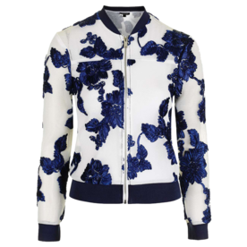 <p>Ribbon Embellished Bomber Jacket</p>