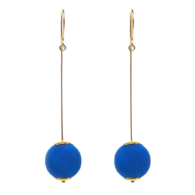 Cobalt+Blue+Silk+Gold+Pin+Ball+Earrings