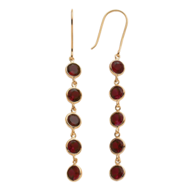 14k+Gold+Over+Silver+Garnet+Linear+Drop+Earrings