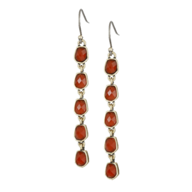 Gold+and+Red+Drop+Earrings