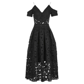 <p>Laser Cut Bardot Prom Dress</p>