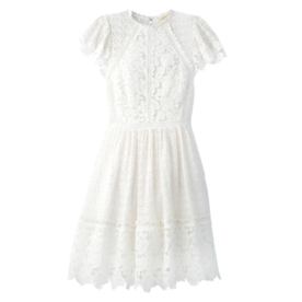 Short-Sleeve+Lace+Mix+Dress
