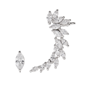 Rhodium-Plated+Cubic+Zirconia+Earrings