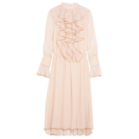 Ruffled+Crinkled-Chiffon+Midi+Dress