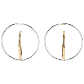 Saturn+Gold-Dipped+and+Silver+Earrings
