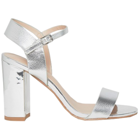 Metallic+Block+Heel+Sandal