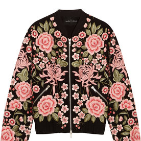 <p>Embroidered Crepe Bomber Jacket</p>