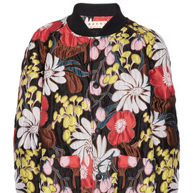 <p>Oversized Floral-Print Bomber Jacket</p>