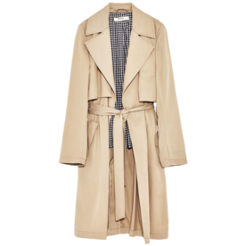 Flowing Trench Coat with Gingham Check Lining