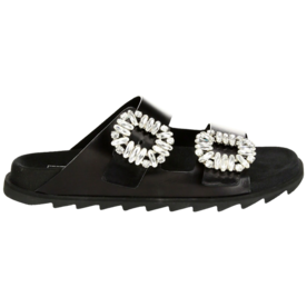Viv+Crystal-Buckle+Leather+Slides