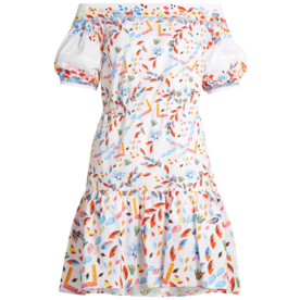 Abstract-Print+Cotton-Blend+Dress