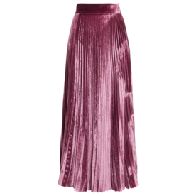 Velvet+Pleated+Skirt