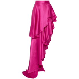 Asymmetric+Ruffled+Silk-Satin+Maxi+Skirt