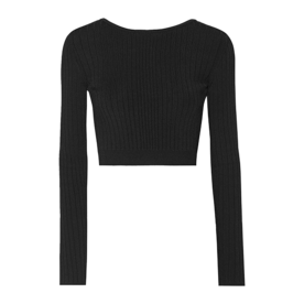 Cropped+Lace-Up+Ribbed+Stretch-Knit+Top