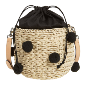 Straw+Pom+Pom+Bucket+Bag