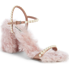 Imitation+Pearl+Embellished+Faux+Fur+Sandal
