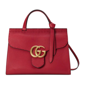 GG+Marmont+Top+Handle+Leather+Satchel
