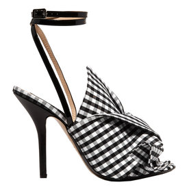 Knotted+gingham+twill+and+leather+sandals