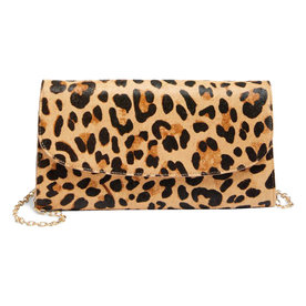 Genuine+Calf+Hair+Leopard+Print+Clutch