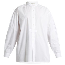 Kamisa+stand-collar+cotton-voile+shirt