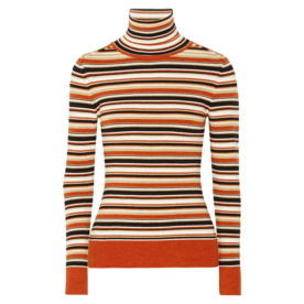 Striped Metallic Knitted Turtleneck Sweater