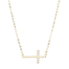 Cubic+Zirconia+Cross+Necklace