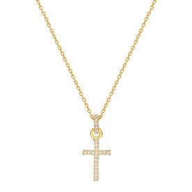 Mini+Paved+Crystal+Cross+Pendant+Necklace