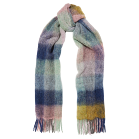 Fresia Fringed Checked Knitted Scarf