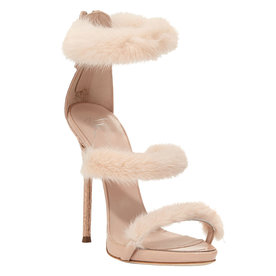 Strappy+Mink+Fur%C2%A0Sandals