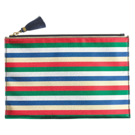 Large Pouch in Striped Satin