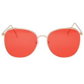 Metal+Round+Sunglasses+with+Red+Tinted+Lens