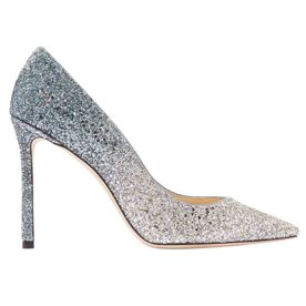 Romy+100+Glittered+Suede+Pumps