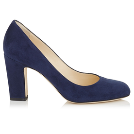 Navy+Suede+Round+Toe+Pumps