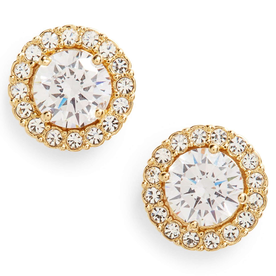 Round+Cubic+Zirconia+Stud+Earrings