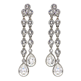 Double+Teardrop+Crystal+Dangle+Clip+Earrings