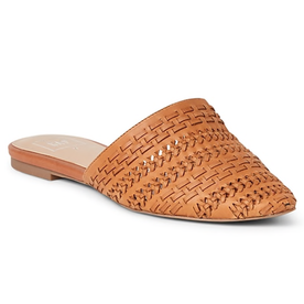 Flat+Mules+in+Woven+Leather
