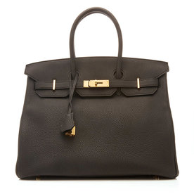 35cm+Black+Togo+Leather+Birkin+Bag