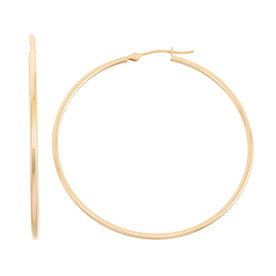 14k+Gold+Tube+Hoop+Earrings