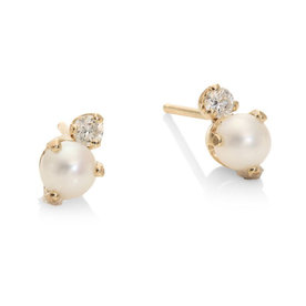 White+Freshwater+Pearl+%26amp%3B+14K+Yellow+Gold+Stud+Earrings