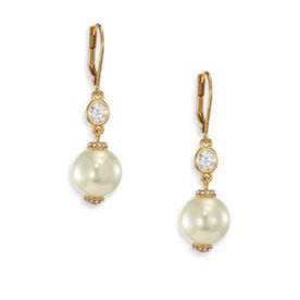 Faux+Pearl+Drop+Earrings