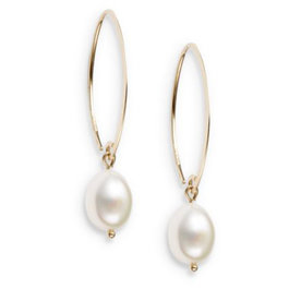 10MM+White+Oval+Freshwater+Pearl+%26amp%3B+14K+Yellow+Gold+Drop+Earrings