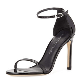 Nudistsong+Patent+Ankle-Wrap+Sandals