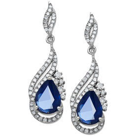 Sapphire+and+Diamond+Drop+Earrings