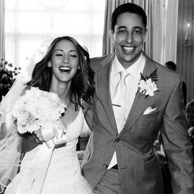 Happily married husband and wife: Justin Saliman and Bree Turner at their intimate wedding ceremony