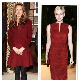 Princess Fashion Trend: Kate and Charlene Both Wear Oxblood Red