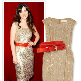 Your Must-Have Party Accessory: A Red Belt Like Zooey Deschanel