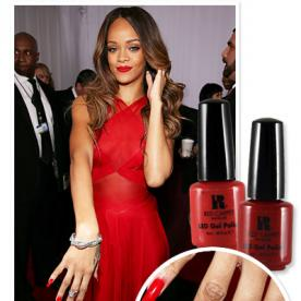 Color nails with red dress