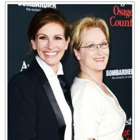 Say Cheese! Julia Roberts and Meryl Streep Are All Smiles at the Premiere of Their Film, August: Osage County in L.A.