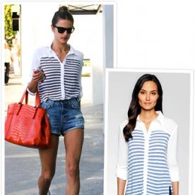 Found It! Alessandra Ambrosio's Comfy Striped Button-Up Blouse
